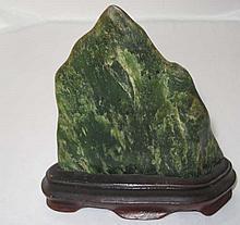 19thC jade scholar's rock on stand 13cmH x 13cmW