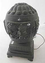 Antique Chinese pierced metal table lamp 30cmH