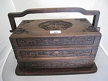 Antique Chinese Huanghuali three tier carry box