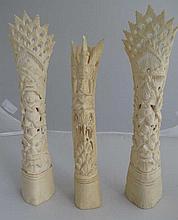 Three various vintage carved pierced bones 22cmH
