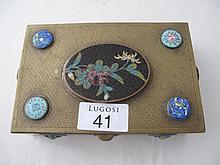 Vintage Brass Chinese enamel box three Shou