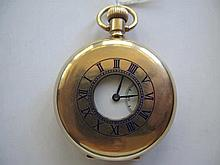 Antique AWC Co Canadian blue enamel gold plated half hunter pocket watch wo