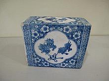Antique Chinese blue & white porcelain pillow measures 12cm x 15cm