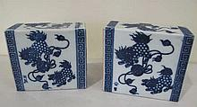 Pair Chinese blue & white porcelain pillows signed measures 12cm x 13.5cm