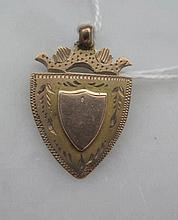 Antique 9ct gold shield fob weighs 2.9gms