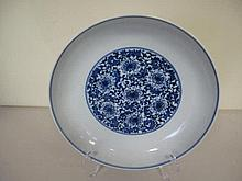 Chinese Blue and white porcelain lotus dish measures 21cm diam