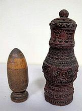 19thC treen carved pepper pot with thimble holder 11cms Ht
