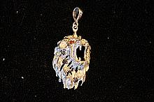 Solid Sterling Silver Rare Hand Made Large Lion Head Pendant