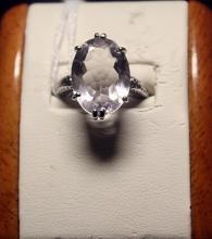 Lady's Fancy Antique Style White Topaz Sterling Silver Ring.