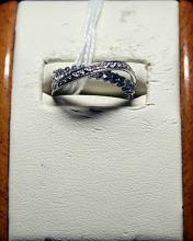 Lady's Fancy Tanzanite with Diamond Chips Sterling Silver Ring.
