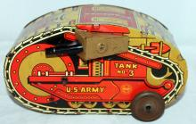 Marx Tin Lithograph Key Wind Toy Tank No. 3
