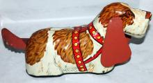 Marx Tin Lithograph Basset Hound Friction Toy