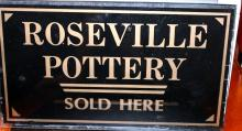 RARE Roseville Pottery Sold Here Painted Glass Sign