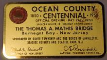 1950 Ocean County Centennial Mathis Bridge Opening Metal Plate