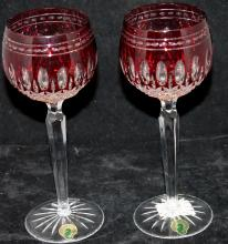 Waterford Crystal Bicolor Red To Clear Wine Goblets