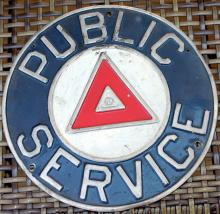 1950's Public Service Bus Sign Single Sided