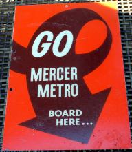 1980's Mercer Metro Transit 2 Sided Transportation Sign