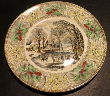 Adams Winter Scenes Engraving By N. Currier 10 1/2 Inch Diameter Plate #2