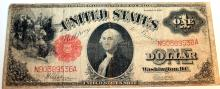 1917 Spellman White Small Red Seal Large One Dollar Bill Fine