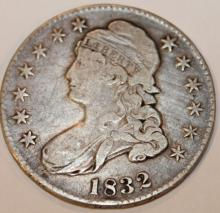 1832 Capped Bust Half Dollar Coin F-12 Or Better