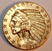 1911 Indian Head Gold Half Eagle Five Dollar Coin EF-40 Or Better