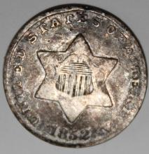 1852 Silver Three Cent Piece Trime VG-8 Or Better