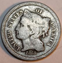 1868 Nickel Three Cent Piece Coin VF-20 Or Better