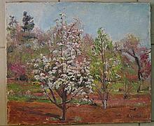 André VIVREL (Paris 1886 - 1976)  Pommiers en fleurs. Huile sur toile. Daté