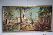 Louis MAISONNEUVE (mort en 1926) Vue de village animé. Huile sur toile. Sig