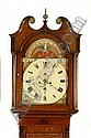 A GEORGE III OAK AND MAHOGANY CROSS BANDED LONG CASE CLOCK having an arched painted dial decorated with signs of the zodiac and children playing in seasonal scenes, the principal dial with Roman numerals, second hand and date hand, the case with