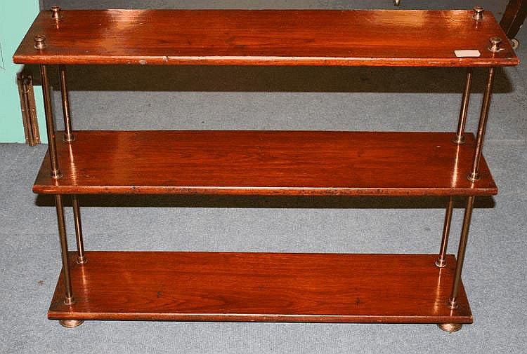 A 19TH CENTURY SET OF THREE MILITARY SHELVES with