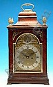 A GEORGE III MAHOGANY BRACKET CLOCK, with repeater and strike, by M Nicolason of London, the arched dial with date aperture, the case with brass handle and finials, 19.5in high (see illustration)