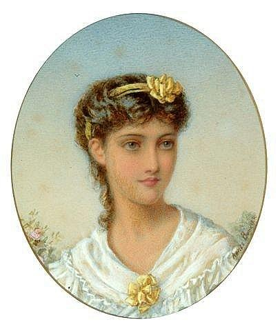 ATTRIBUTED TO AGNES ROSE BOUVIER (1842-c.1892), portrait of an Italian girl her hair tied with a yellow ribbon, signed, watercolour, 6.5in x 5 1/5in, oval. (see illustration)