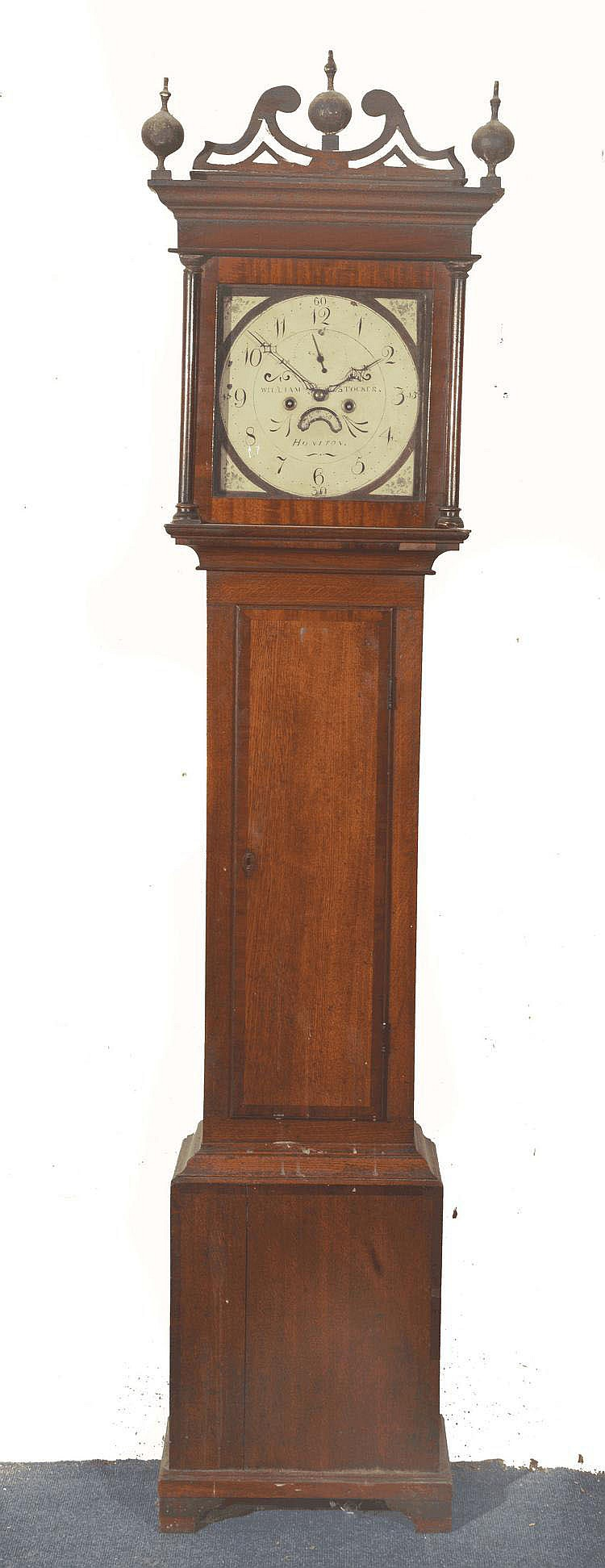 A 19TH CENTURY EIGHT DAY LONG CASE CLOCK, the 12