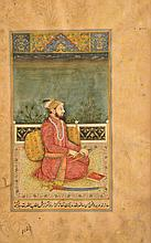 AN INDIAN, MUGHAL PAINTING of a seated figure with book, dagger and sword with inscription and illuminated surround, 20.5 x 11.5cm, framed    100