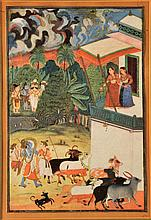 AN INDIAN MINIATURE PICTURE of two women on a balcony with figures and animals passing below, 25 x 16cm, framed   100