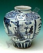 A CHINESE MING PERIOD BLUE AND WHITE OVOID VASE, decorated with figures in panels, 8in high (see illustration)