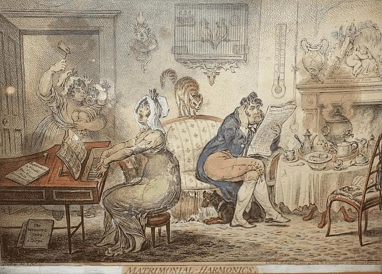 JAMES GILLRAY 'Matrimonial Harmonics', etching,