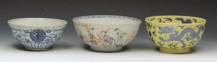 A CHINESE YELLOW GROUND CIRCULAR BOWL decorated in