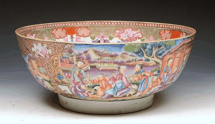 A CHINESE PORCELAIN PUNCH BOWL, the exterior