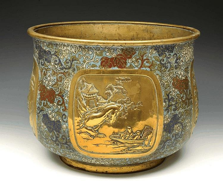 A JAPANESE BELL-JARDINIERE chased with four panels