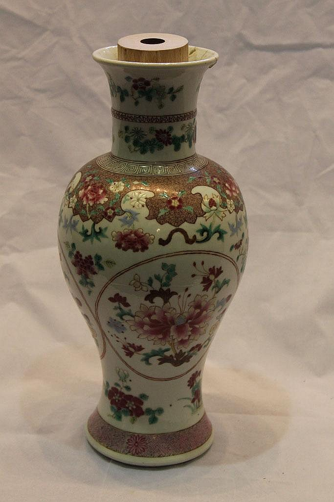 A FAMILLE ROSE BALUSTER VASE, used as a table lamp