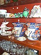Various ceramics and glassware (six shelves).