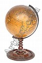 NEWTON'S NAVIGATORS AND TRAVELLERS TERRESTIAL GLOBE dated 1841, a turned wooden stand, 14in high .