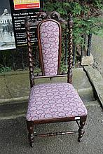 A VICTORIAN WALNUT NURSING CHAIR with matching
