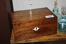 A SMALL VICTORIAN MAHOGANY PLAIN WORKBOX