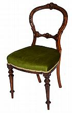 A SET OF FOUR VICTORIAN WALNUT PARLOUR CHAIRS with