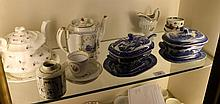 A NEWHALL TEAPOT, a cream jug, two blue transfer