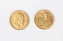 TWO GOLD SOVEREIGNS for 1907 and 1913 (2)