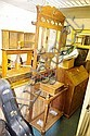 AN ART NOUVEAU OAK HALL STAND with mirror and